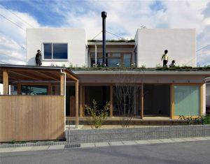 一級建築士事務所ラーバン - 屋上を緑化してはなれを造る。芝屋根の家